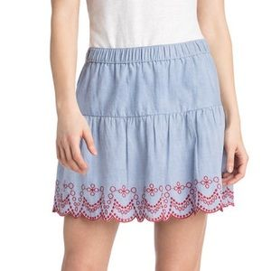 Vineyard Vines Embroidered Flounce Skirt Blue Red
